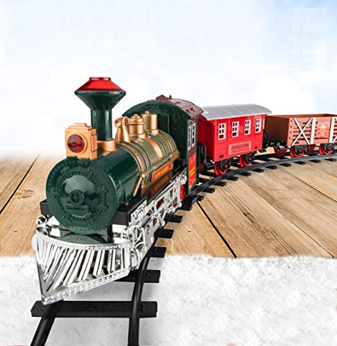 Train Set for Kids w/ Lights and Sounds - Battery Operated Electric Classic Model w/ Tracks - 2-in-1 Christmas Train Set for Under The Tree and Children's Toy - Gift for Boys & Girls Age 3 4 5 6 7
