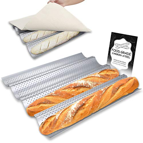 """Walfos Non-stick Perforated French Baguette Bread Pan with Professional Proofing Cloth, 15""""X 13"""" French Bread Baking Pan , 4 Wave Loaves Loaf Bake Mold Toast Perforated Bakers Molding"""