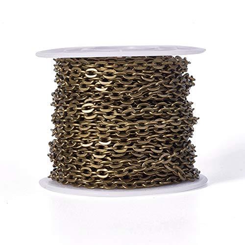 Beadthoven - Cadenas de alambre de hierro con cruz de 10 m x 3,3 mm, sin soldar, ovaladas, trenzadas, de metal, con bobina para manualidades, joyas, pulseras, collares (bronce envejecido)