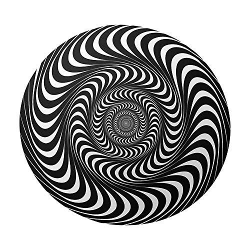Magent 3D Vortex - Alfombra redonda con forma de espiral, color negro y blanco