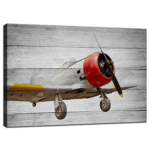 Live Art Decor - Plane Canvas Wall Art,Old Aircraft on Vinta...
