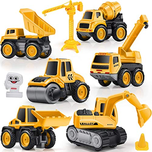 Construction Truck Toys, GEYIIE Construction Vehicles Site for Kids Engineering Toys Cars Playset for Boys, Excavator Digger Tractor Bulldozer Dump Cement Steamroller Crane, Sandbox Trucks Vehicles