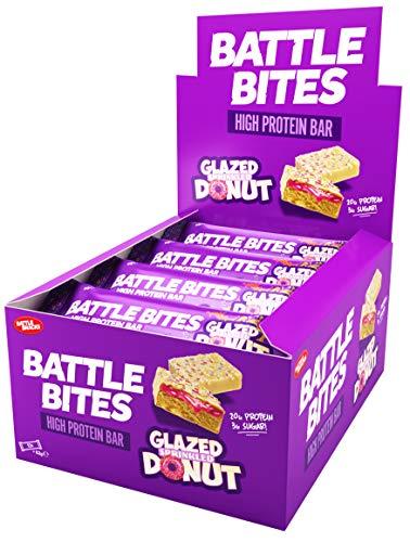 Battle Bites High Protein Bar, 12 x 62 g Low Carb Protein Bars - Glazed Sprinkled Donut