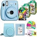 Fujifilm Instax Mini 11 (Sky Blue) Camera with 2X Fuji Instant FilmTwin Pack - Fujifilm Instax Mini Rainbow Film + Case, Album, Stickers, Accessories Bundle from Abesons