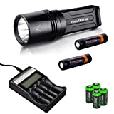 FENIX TK35 Ultimate Edition 2015 version (TK35UE) 2000 Lumen CREE XHP 50 LED Tactical Flashlight with 2 X Fenix ARB-L2S 3400mAh 18650 Li-ion rechargeable batteries, Fenix ARE-C2 advanced digital battery charger, 4 X EdisonBright CR123A Lithium batteries, Holster & Lanyard bundle