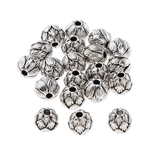 SDENSHI 20 Piezas de Cuentas Espaciadoras de Plata Antigua para La Fabricación de Joyas de Collar de Pulsera de Bricolaje