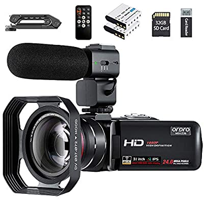 """Video Camera 1080P Camcorder ORDRO Vlogging Camera for YouTube IR Night Vision 3.0"""" IPS LCD Touch Screen 16X Digital Zoom Camera Recorder with Microphone Handheld Holder Remote Control 32G Card (Z20) by ORDRO"""