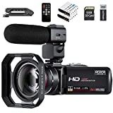 Video Camera 1080P Camcorder ORDRO Vlogging Camera for YouTube IR Night Vision 3.0' IPS LCD Touch Screen 16X Digital Zoom Camera Recorder with Microphone Handheld Holder Remote Control 32G Card (Z20)