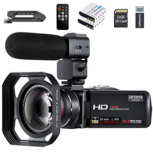 Camcorder,ORDRO HDV-Z20 Video Camera FHD 1080P 30FPS WiFi Camera Camcorders with Hot Shoe 16X Digital Zoom 3.0'' Touchscreen DV Recorder