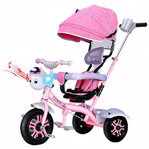SONG Standardkinderwagen Kinderfahrrad 4-in-1-Dreirad Kinderwagen Großer Fahrradkinderwagen Geburtstagsgeschenk Mit Musik Kinder (Color : Pink)