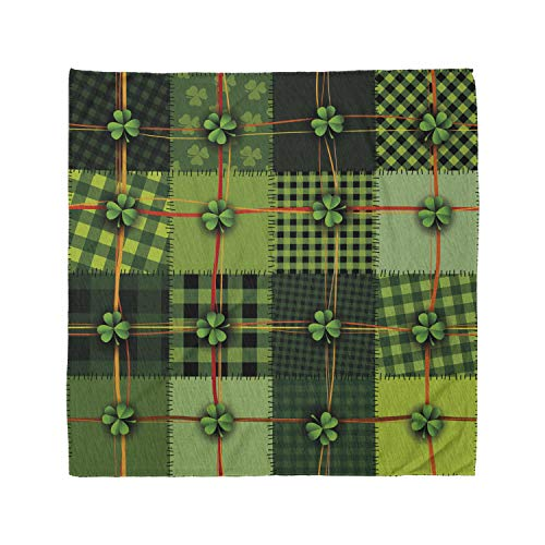 Ambesonne Unisex Bandana, Irish Patchwork Celtic Clovers, Green Orange