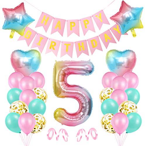 5er Cumpleaños Globos, Decoración de cumpleaños 5 Rosa, Feliz cumpleaños Decoración Globos 5 Años, Foil Globo Número 5 Rosa, Globos de Aluminio para Niñas, Globos Confeti Aluminio para Fiestas Niñas