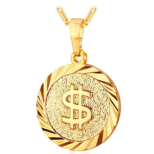 Colar personalizado com placa de dólar banhado a ouro real 18 K com pingente de hip hop CZ com corrente de corda spiga para rapper masculino e feminino, 5 cores disponíveis medium Dourado