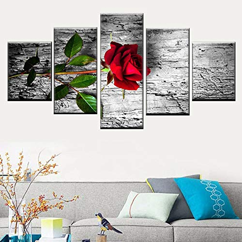 KWzEQ HD Print Leinwand Wandkunst Bild Home Decoration 5 Panel Schöne Stein Rose,Rahmenlose Malerei,30x40cmx2, 30x60cmx2, 30x80cmx1