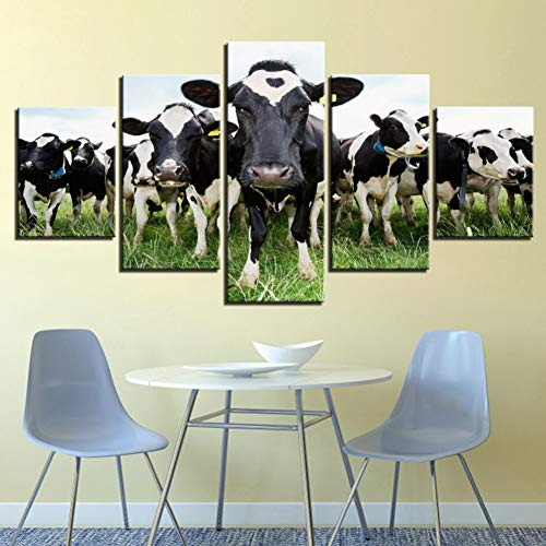 MMLZLZ 5 consecutive paintings HD print 5 pcs canvas art dairy/dairy cows in the grass painting wall pictures for living room posters home decor footprints