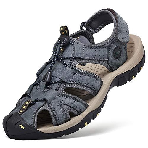 FLARUT Sandalen Herren Outdoorsandalen Sommer Wanderschuhe Trekkingsandalen Leder Strand Wandersandale Laufschuhe Lässige Sneaker Sportsandalen(Blau B,40)