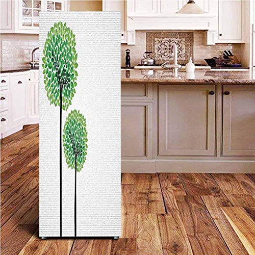 Angel-LJH Abstract ONE Piece Door Sticker,Stylized Trees with Fresh Green Leaves Nature Eco Illustration Wall Decal Hallway Mural for Door/Wall/Fridge,24x70