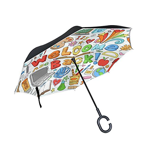 Top Carpenter Guarda-chuvas invertidos de camada dupla para sala de aula com alça em forma de C para carro ao ar livre