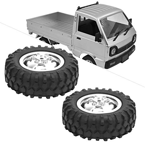 01 Neumático RC, aleación de Aluminio + Llantas de Goma ecológicas Neumáticos RC 2 Piezas para Rueda de camión Reemplazo para Coche RC para Camiones RC para Accesorios de Modelo de Coche(Silver S)