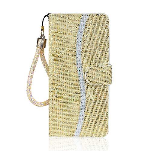 PHONETABLETCASE+ / for SAMSUNG Galaxy A71 Glitter Powder Horizontal Flip Funda de cuero con ranuras y soporte tarjetas y cordones Protección de la cubierta de la cubierta a prueba ( Color : Gold )