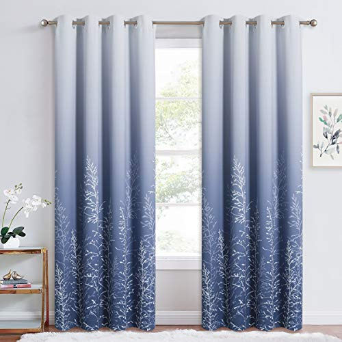 RYB HOME Blackout Curtains for Bedroom - Omber Curtains for Living Room Sunlight Block Noise Reduce Energy Efficiency Curtains Summer Window Decor, White and Navy, 52 x 84 inch, 2 Pcs