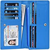 Slim leather wallets for women with RFID with Coin Pocket 11 Credit card compartment & ID (Water Blue Saffiano)