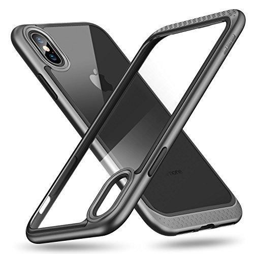 ESR Cover iPhone XS/X, Custodia con Telaio Resistente [Antiurto,Anti Scivolo,AntiGraffio] [Protezione Rinforzata per Fotocamera] [Protezione sul Retro in Vetro] per iPhone XS/X da 5.8 Pollici.