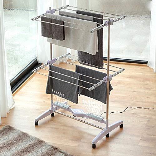 Modezvous – Tendedero eléctrico plegable con flujo de aire – Tendedero para ropa – Aluminio – Plegable – 2 niveles – 12 barras – Bajo consumo 24 W
