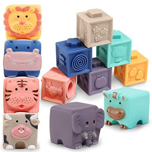 Baby Bausteine Spielzeug ab 12 Monate-Weiche Quetschbare Blöcke, 12 Stück Tiere und Zähle Montessori Badespielzeug, Pädagogische Motorikbauklötze für Kinder ab 1 Jahr (Set A)