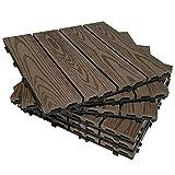 Bretoes Baldosas de Terraza Entrelazadas 30 x 30 cm Para Exterior (6 Piezas, Marrón 3D)