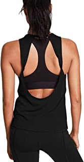 Mippo Workout Tops for Women Yoga Tank Tops Loose Fit Open Back Shirts Gym Clothes