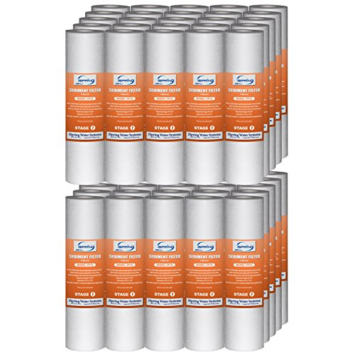 iSpring FP15X50 5 Micron, 50 Pack Standard 10' x 2.5' Multi-layer Sediment Water Filter Replacement Cartridges, White
