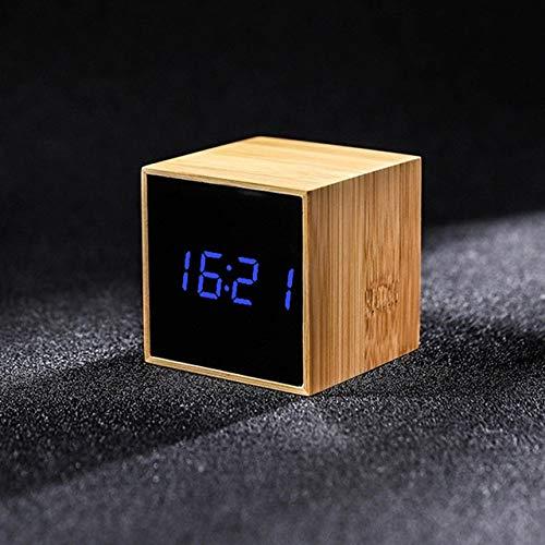 LKU wekker bamboe LED wekker temperatuur en luchtvochtigheid multifunctionele digitale houten sluimerklok spraakbesturing, A, blauw