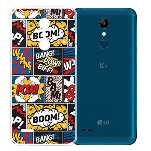 AQGG Funda para LG K11 / LG K10 2018 Transparente TPU Case Silicone Suave Back Bumper Tapa Caso Parachoques Carcasa Cover para LG K11 / LG K10 2018 (EuropeanVersion)- Dibujos de explosión