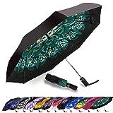 Umbrella Windproof, Siepasa Travel Umbrella, Compact Folding Reverse Umbrella,-One button for Auto Open and Close (Peacock)