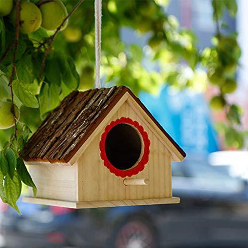 Joocyee Jaula de pájaros de Madera Casas Nido Natural al Aire Libre jardín Colgante Decorativo, casa de Corteza de simulación de Nido de pájaro de Madera, como se Muestra