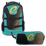 """BESTLIFE Mochila y estuche en un set """"MERX"""" mochila escolar, para el tiempo libre con compartimento para el portátil hasta 15,6 pulgadas (39,6 cm), negro/turquesa"""
