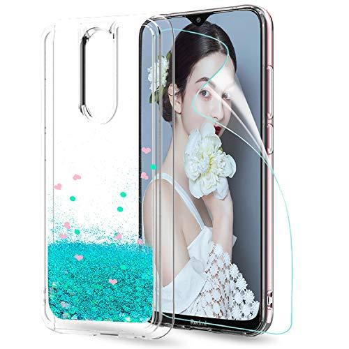 LeYi Funda Xiaomi Redmi 8 Silicona Purpurina Carcasa con HD Protector de Pantalla, Transparente Cristal Bumper Telefono Gel TPU Fundas Case Cover...