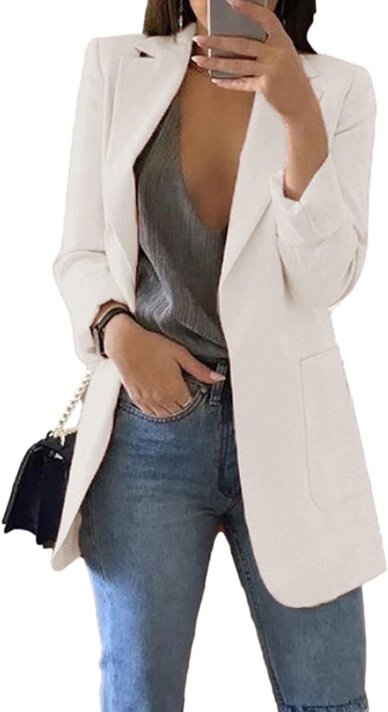 Omoone Women's Lapel Jacket Casual Long Sleeve Blazers Open Front Office Jacket Blazer