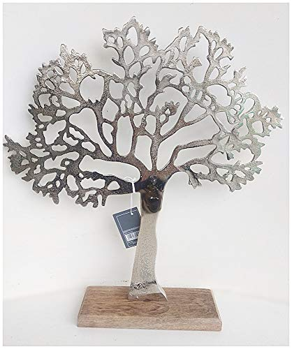 Beautiful Polished Aluminium 'Tree of Life' Sculpture Decoration Jewellery Stand 34 cm - Would Make a Perfect Gift