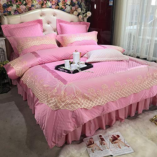 FGDSA Luxury Bedding Set Soft Lace Edge Bed Linens Bed Sheet Set Printed Bedclothes Queen/King Size Bed Cover 4pcs Pillowcase Double Double Duvet Sets