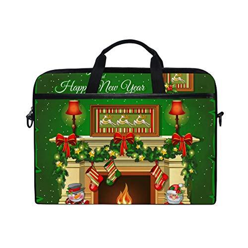 Ahomy Weihnachtssocken Kamin 14-14,5 Zoll Multifunktions Stoff Wasserdicht Laptop Tasche Aktentasche Schulter Messenger Bag