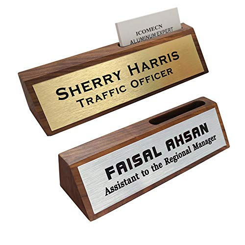 Personalized Business Desk Name Plate with Card Holder Custom Nameplate 2' x 8'