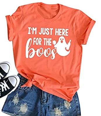 I'm Just Here for The Boos T-Shirt Women Funny Halloween Short Sleeve Tees Tops