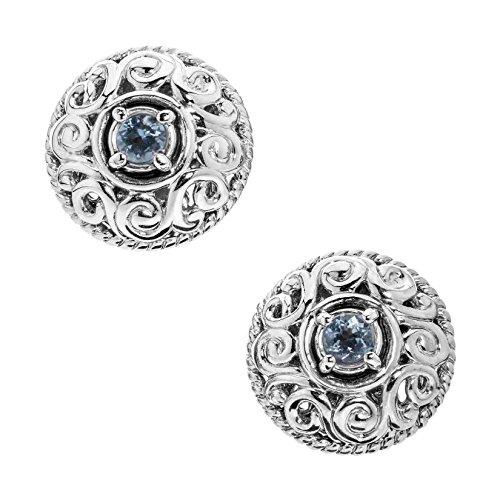 Carolyn Pollack Sterling Silver Aquamarine March Birthstone Button Earrings