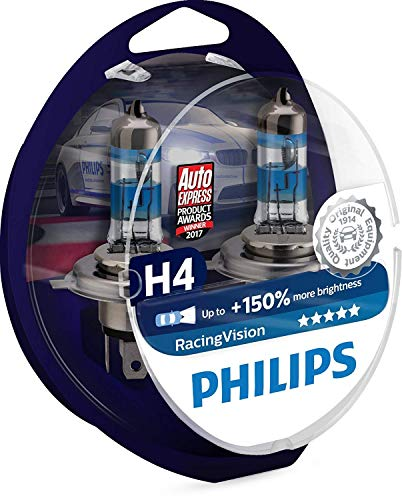 Philips RacingVision +150{40113dae336dbaf796053ac2bc76cbca107224c100ad9abe7a60cca9aaa155ed} H4 Scheinwerferlampe 12342RVS2, Doppelset
