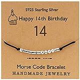 YooAi Morse Code Pulsera Regalos de Feliz cumpleaños para niñas Niños Pulsera de Plata esterlina Joyería de Regalo de cumpleaños para 14 años Cuentas en cordón de Seda 14