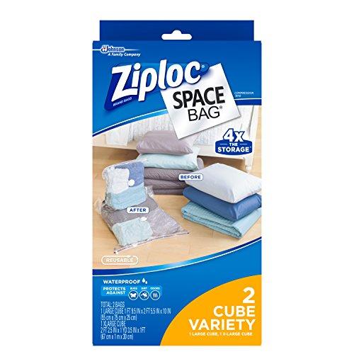 Ziploc Reusable Clothes Storage Bags, 2 Piece Cube Combo Vac Bags, 1 Large Cube, 1 XL Cube, Space Bags