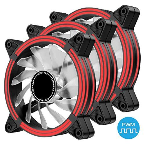 EZDIY-FAB 120mm PWM Lüfter mit Rot LED, Dual-Frame LED Gehäuselüfter für PC-Gehäuse, hohe Geräuschentwicklung, CPU-Kühler,4-Pin-3-Pack