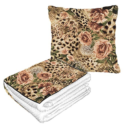 Well Traveled Luxury Colorful Leopard Print Airplane Blanket Travel 50×60.23inch Warm Soft 2-in-1 Combo Travel Pillow With Blanket Inside Camping,car Trips Airplane Pillow Blanket For Any Travel